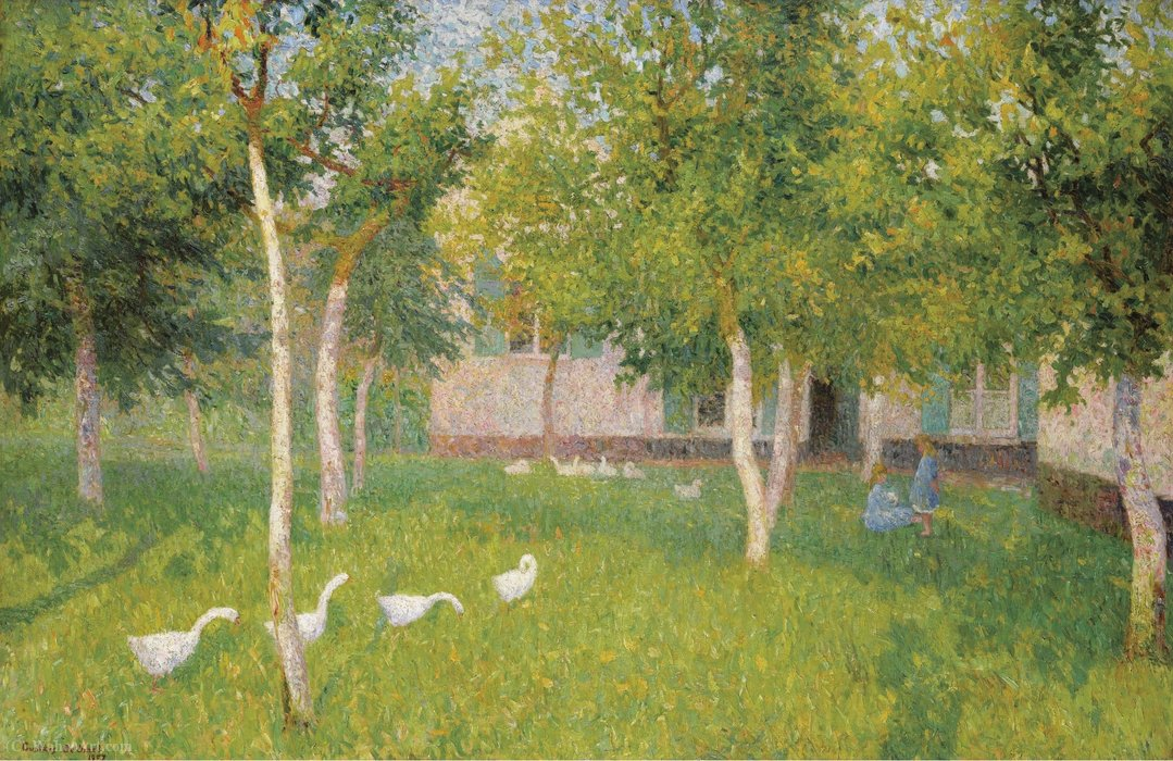Wikioo.org - The Encyclopedia of Fine Arts - Painting, Artwork by Gustave De Smet - Gees and Two Children in the Garden, (1910)