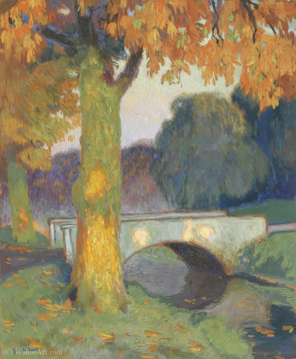 Wikioo.org - The Encyclopedia of Fine Arts - Painting, Artwork by Gustave De Smet - Little bridge, (1914)