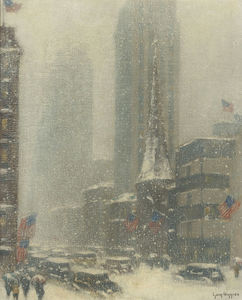 Heavy Snow Storm on 5th Ave, (1937)