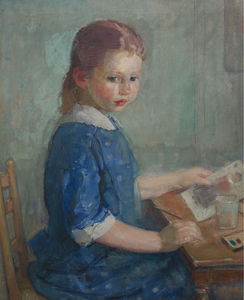 The Artist's Daughter Lydia Painting a Watercolor, (1913)