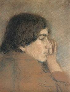 Jeune femme pensive Charlotte Renaudin (1902)
