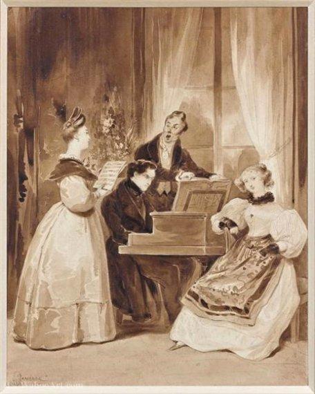 Wikioo.org - The Encyclopedia of Fine Arts - Painting, Artwork by Achille Jacques Jean Marie Devéria - La réunion musicale