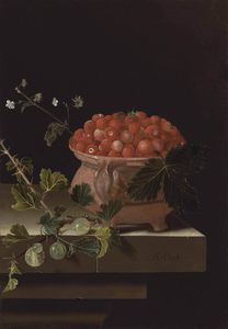 A bowl of strawberries with gooseberries on a stone ledge