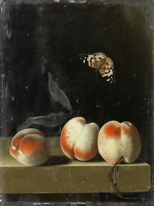 Three peaches on a stone ledge with a Painted Lady butterfly