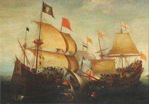 An english and a dutch ship attacking a spaniard - (1610)