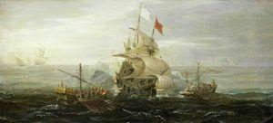 French ship and barbary pirates. circa - (1615)
