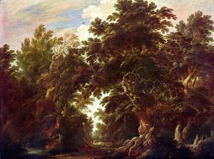 Landscape with stag-hunt