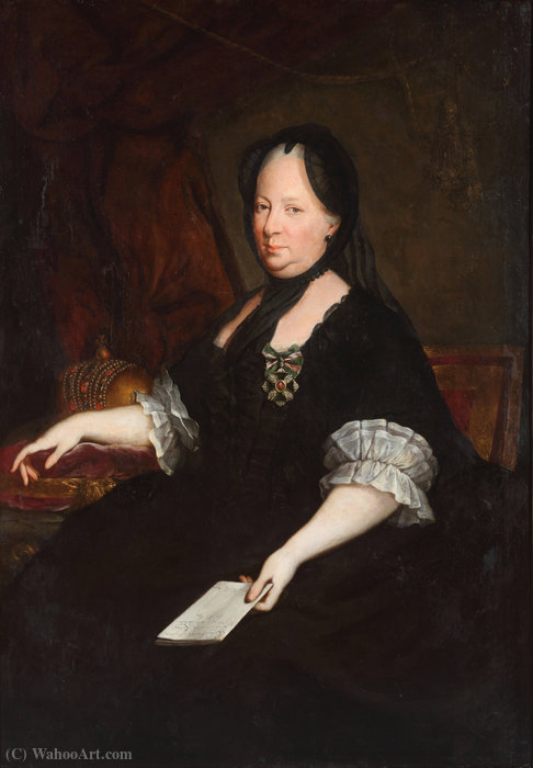 Wikioo.org - The Encyclopedia of Fine Arts - Painting, Artwork by Anton Von Maron - Empress Maria Theresa as a widow