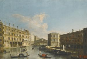 View of the grand canal towards the rialto bridge from the north, the fondaco dei tedeschi to the left