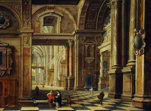 Interior of a Flemish Cathedral with Figures