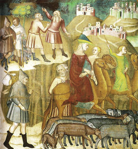 Abraham is divided by Lot in the land of Canaan, fresco by Bartolo di Fredi (Duomo di San Gimignano)