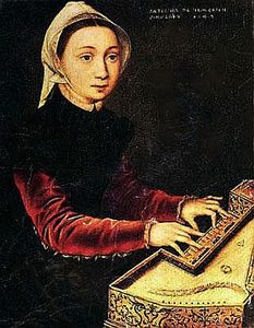Young girl playing the virginal