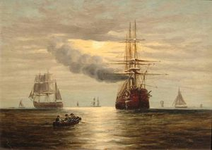 Steam-powered sailing ship and other craft by moonlight by Claude Thomas Stanfield Moore