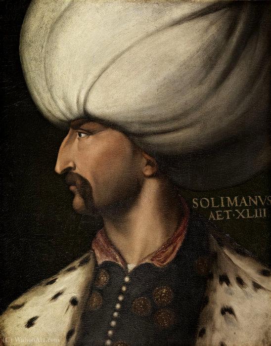 Wikioo.org – La Enciclopedia de las Bellas Artes - Pintura, Obras de arte de Cristofano Di Papi Dell Altissimo - Retrato del sultán Solimán el Magnífico