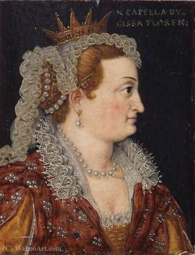 Wikioo.org – La Enciclopedia de las Bellas Artes - Pintura, Obras de arte de Cristofano Di Papi Dell Altissimo - Perfil de Bianca Cappello