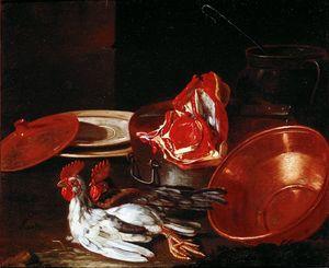 Platos, arcilla cerámica y peltre, carne y gallos