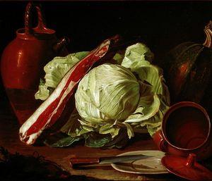 Loza, calabaza, col, lacón y la placa con platos cuchillo, arcilla de la cerámica y peltre, carne y gallos