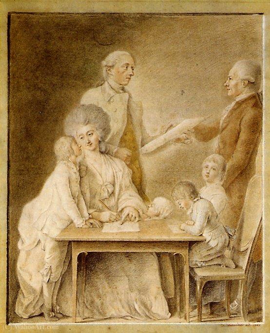 Wikioo.org - The Encyclopedia of Fine Arts - Painting, Artwork by Daniel Nikolaus Chodowiecki - The Johann Valentin Meyer family and the artist Chodowiecki