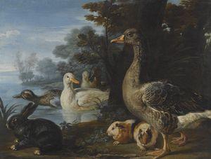 Los patos, cuyes y un conejo en un paisaje boscoso junto a un lago