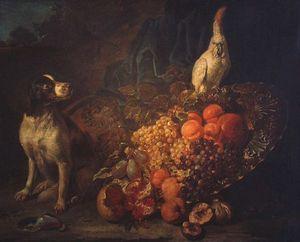 Bodegón ostentosa con el perro y el loro