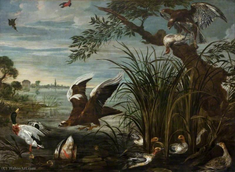 Wikioo.org – La Enciclopedia de las Bellas Artes - Pintura, Obras de arte de David De Coninck - Escena del río con los patos y gansos ser atacado