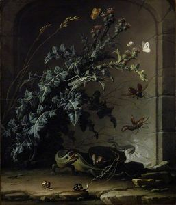 Stone Niche with Thistle, Lizard and Insects