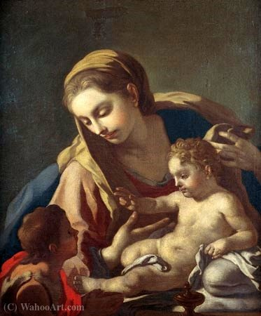 Wikioo.org - The Encyclopedia of Fine Arts - Painting, Artwork by Francesco De Mura - Madonna and Child with the Infant St. John the Baptist