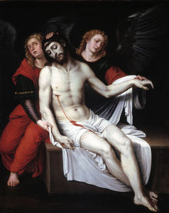 Dead Christ supported by two angels
