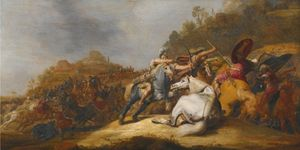 A Battle on Horseback with Armored Soldiers and Soldiers Wearing Turbans, in a Landscape