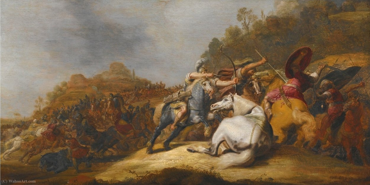Wikioo.org - The Encyclopedia of Fine Arts - Painting, Artwork by Gerrit Claesz Bleker - A Battle on Horseback with Armored Soldiers and Soldiers Wearing Turbans, in a Landscape