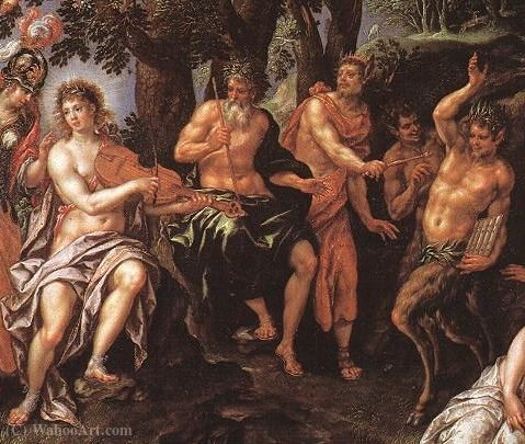Wikioo.org - The Encyclopedia of Fine Arts - Painting, Artwork by Hendrick De Clerck - Kontes Apollo vs Pan