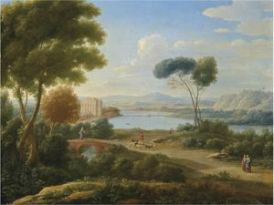 A classical river landscape with figures on a path and a palace in the distance