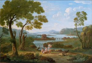 Classical River landscape with figures and goats before a bridge, waterfall and circular temple