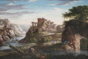 Italianate pastoral landscape capriccio ruins