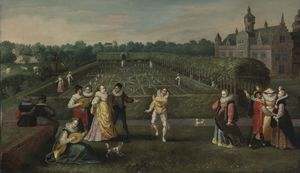 I Courtiers Strolling In a Garden