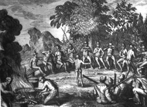 Timucua Indians at a feast drawing possibly
