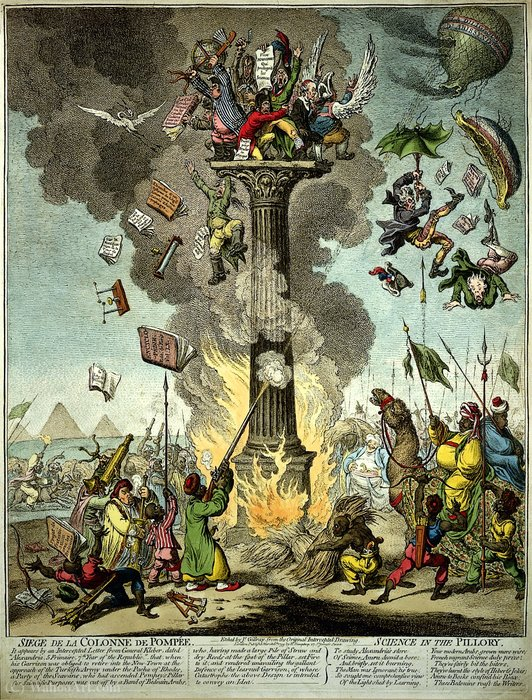 Wikioo.org - The Encyclopedia of Fine Arts - Painting, Artwork by James Gillray - A group of French savants huddle together at the top
