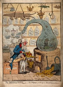 An alchemist using a crown-shaped bellows to blow the flames