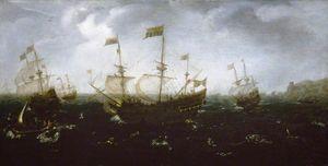 Shipping off a Coast in Rough Seas