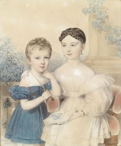 Holding Portrait of a boy in a blue dress and a girl, a picture book