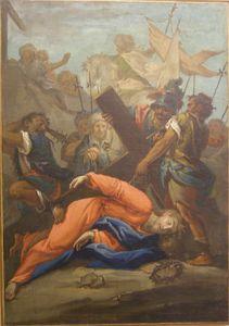 Christ falls under the cross