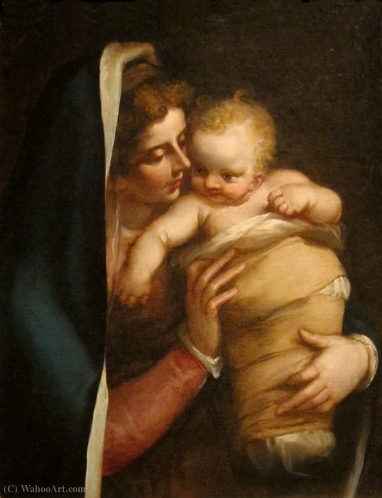 Wikioo.org - The Encyclopedia of Fine Arts - Painting, Artwork by Luca Cambiaso - Madonna and Child