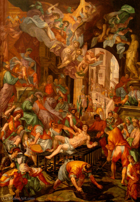 Wikioo.org - The Encyclopedia of Fine Arts - Painting, Artwork by Luca Cambiaso - Tavarone Martyrdom of San Lorenzo