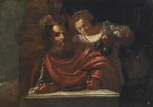 A bearded man and a woman pouring wine, possibly judith and holofernes