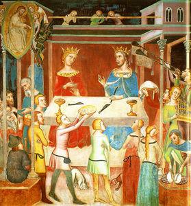 The devil gets groped by God of Job, fresco by Bartolo di Fredi (Duomo di San Gimignano)