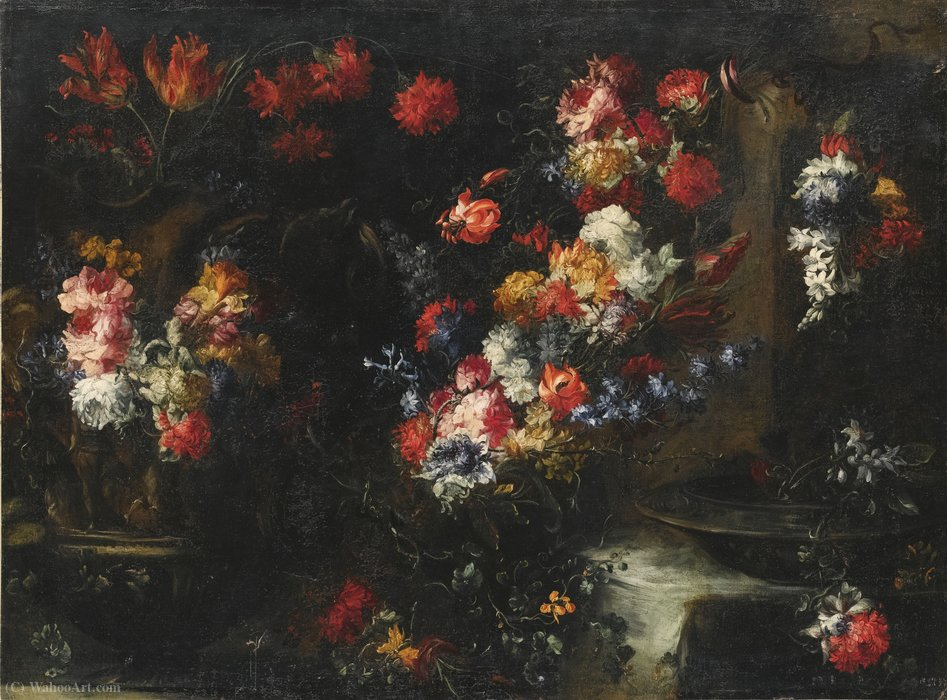 Wikioo.org - The Encyclopedia of Fine Arts - Painting, Artwork by Margherita Caffi - An ornate still life with flowers in vases on a stone ledge