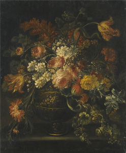 Still life of roses, parrot tulips and other flowers in a brass urn upon a ledge