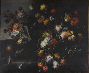 Still lifes of mixed flowers in urns and baskets