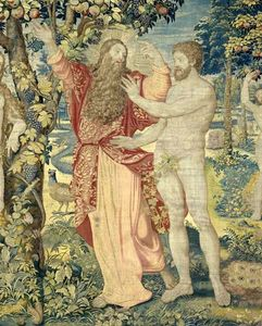 Adam and the God (detail of a tapestry).