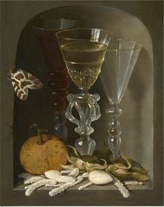 Stil life with three wine glasses in a niche